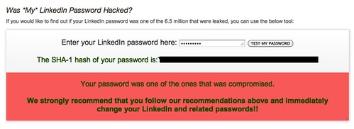 My LinkedIn password was hacked as well