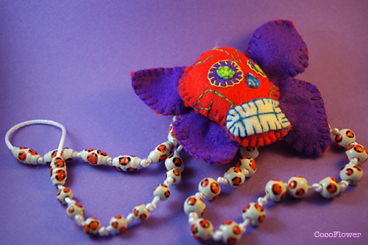 Necklace felt skull