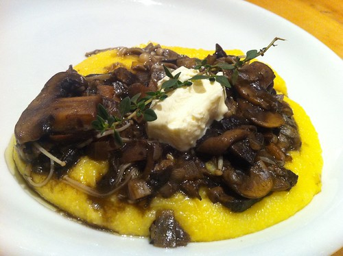 Wild mushroom ragu w wet polenta and mascarpone