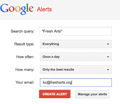 Example of setting up a Google Alert