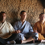 Shifu Kanishka, Shifu Shi Yanfang and Shifu Shi Hengjun Meditating www.shaolinindia.com