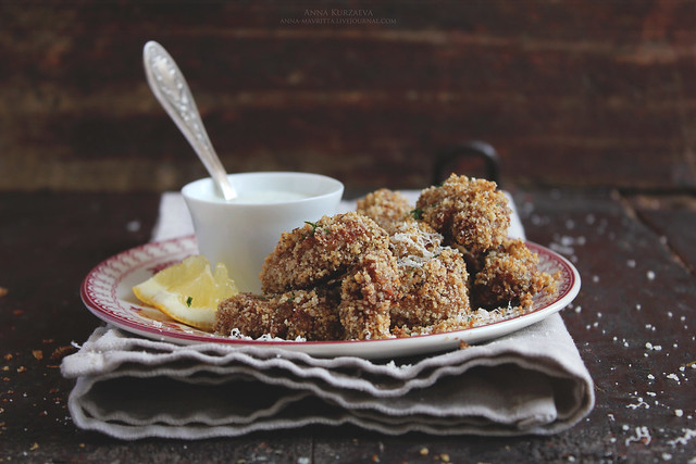 Parmesan and Lemon Baked Chicken Goujons with Yoghurt Sauce