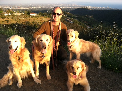 Eric with 4 dogs hiking