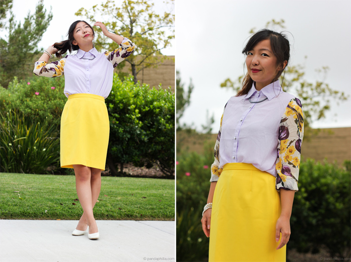 vintage floral lilac yellow