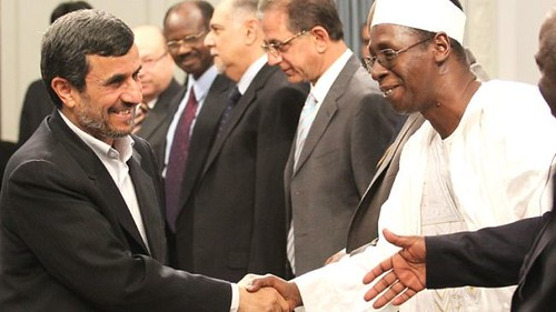 Islamic Republic of Iran President Mahmoud Ahmadinejad greeting African diplomats on May 26, 2012. Iran is seeking to strengthen ties with the continent. by Pan-African News Wire File Photos