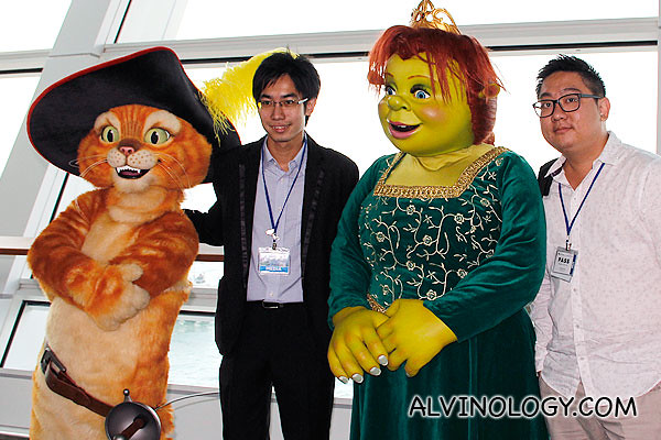 Hong Peng and I with Fiona and Puss from Dreamwork's Shrek