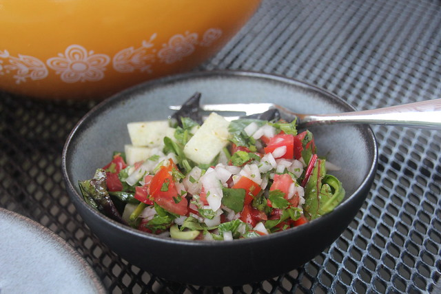 Jicama salad with lime-cilantro dressing and pico de gallo