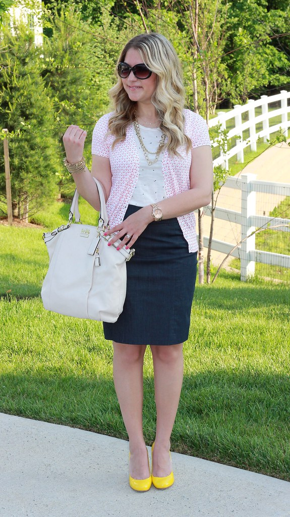 Anchors and Dots summer work outfit