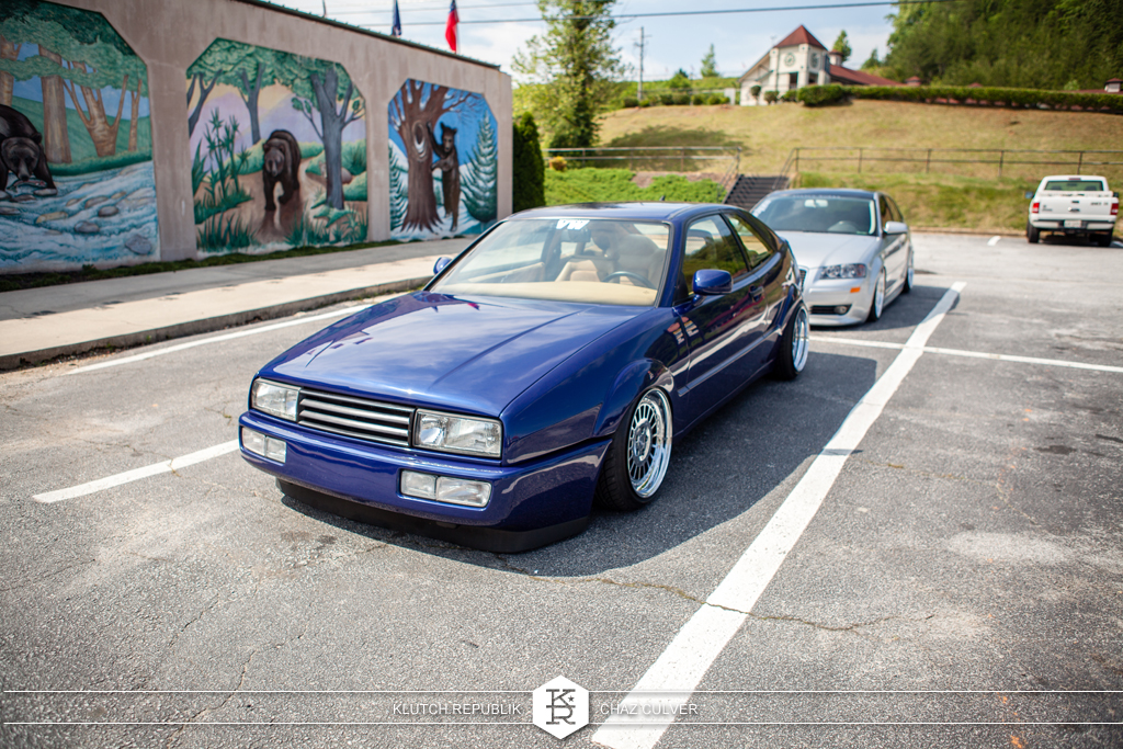 blue vw corrado on airride and rotiforms at southern worthersee 2012
