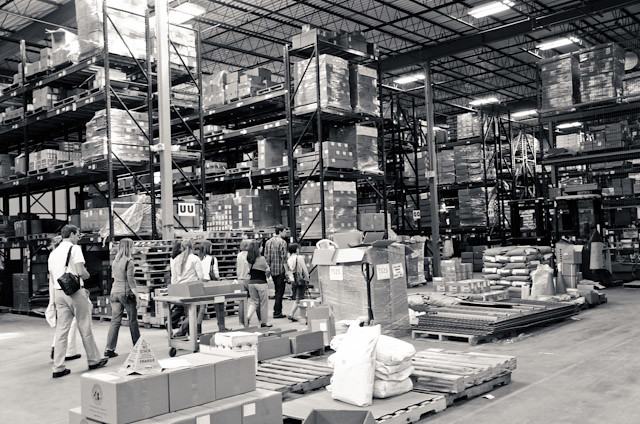 inside the warehouse at King Arthur Flour