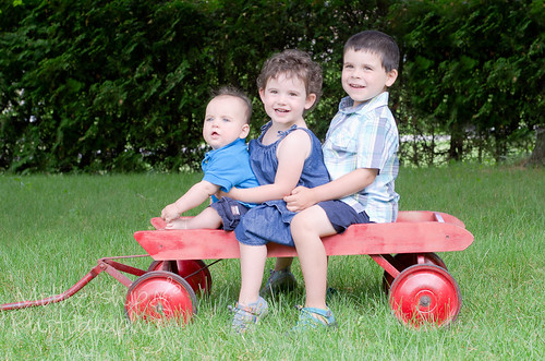 Kids on a wagon