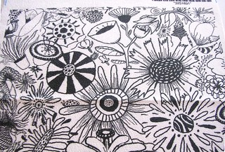 Black and White Flower Doodle, 8x8 test swatch close up #1