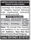 Cambridge International Science College Jobs 2016