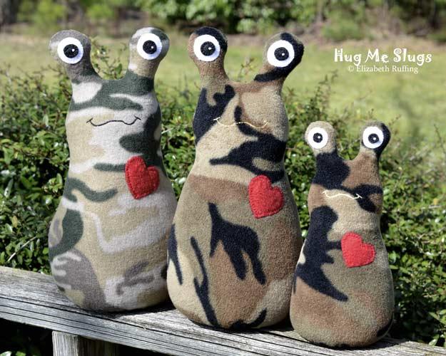 Camouflage Fleece Hug Me Slugs, original art toys by Elizabeth Ruffing