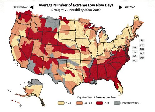 drought vulnerability in the US (by: NRDC)