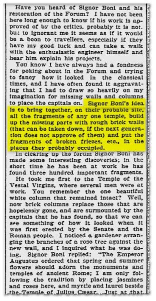 [Prof. Giacomo Boni], CLEARING UP THE [ROMAN] FORUM, Boston Evening Transcript, (Jan. 17th, 1899), p. 4. [Rome, Jan. 2nd, 1899, M.G.]