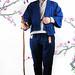 <一見生財藍陣羽織><蒼石色直裰襦><土布九分絝><金線繡富貴花開紋束腰> by 李登廷