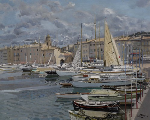 Gabriel Deschamps - The Harbour at Saint Tropez by Gandalf's Gallery