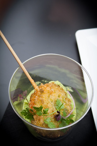 Shrimp Lollypop with pea pesto