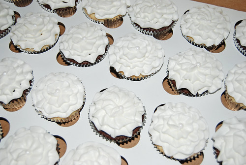 white ruffle cupcakes for First Holy Communion Celebration