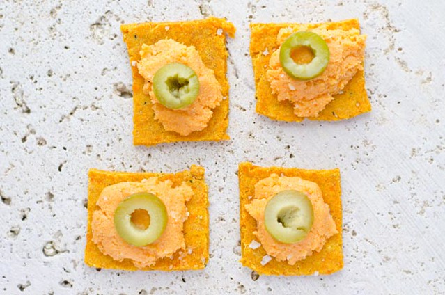 Gluten Free Crackers with Roasted Red Pepper Hummus by Mary Banducci 2