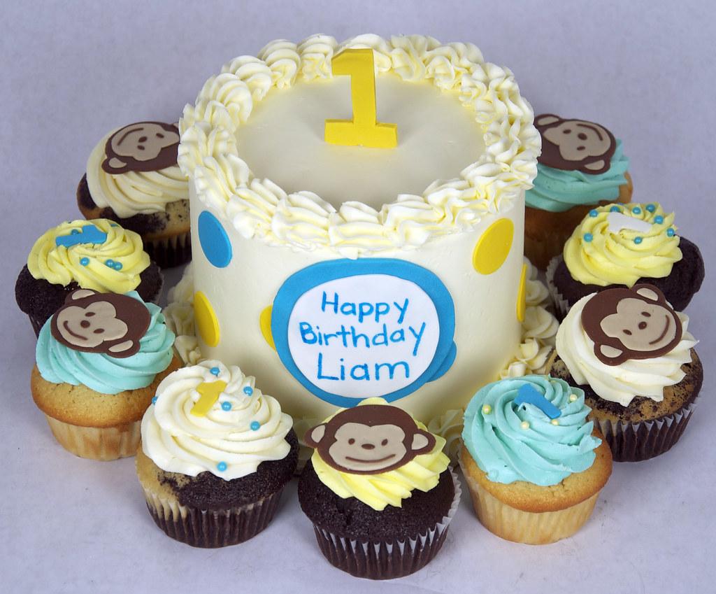 B5007 monkey 1st birthday cake cupcakes toronto a photo on
