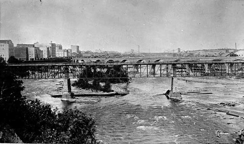 The Original 10th Ave Bridge from 1888  on the Downtown Minneapolis Riverfront