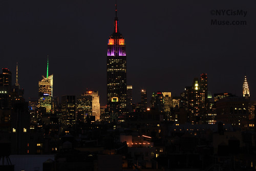 NYC Skyline: ESB dressed in Tie Dye colors for Phil Lesh, Bob Weir and Furthur