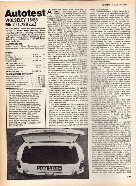 Wolseley 18/85 Road Test 1969 (1)
