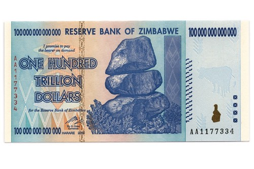Zimbabwe 100-trillion dollar banknote