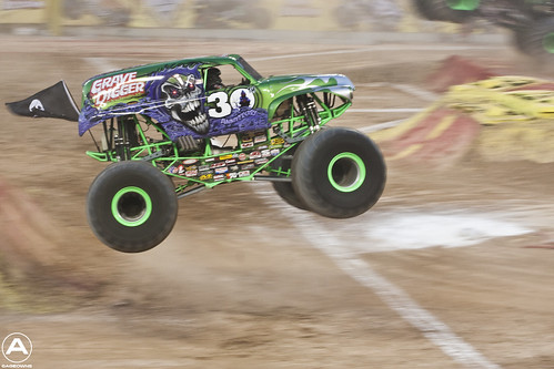 Grave Digger jumping through the air