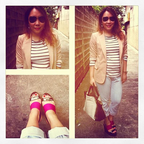 Outfit of the day: zara shirt, F21 blazer, Ralph Lauren jeans, Bayo bag, Primadonna platforms