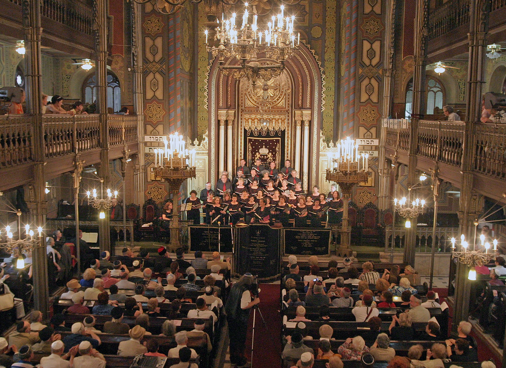 Kol Halev, the choir of Temple Beth Emeth in Ann Arbor, Michigan, performs in front of a packed audience at the Choral Temple in Bucharest, Romania