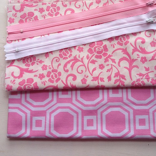 Fabrics chosen for zippy pouches for Granny's birthday present. Hope I can remember how to make them!