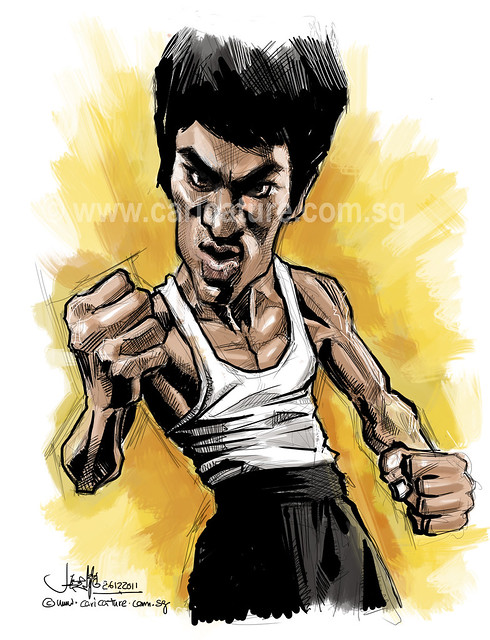 digital caricature sketch of Bruce Lee (watermarked) on Wacom Cintiq 24HD