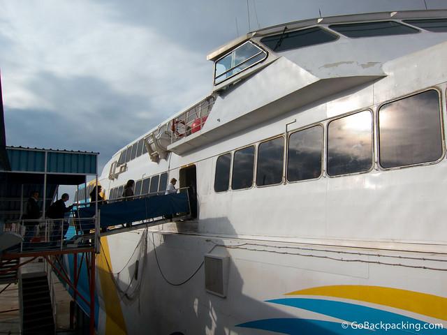Boarding the Buquebus ferry