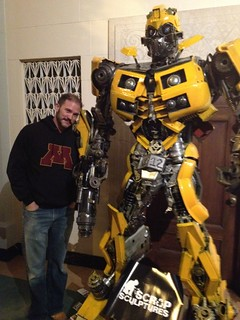 Charlie with a scrap artist's version of Bumblebee