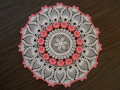 Coral Rose Doily