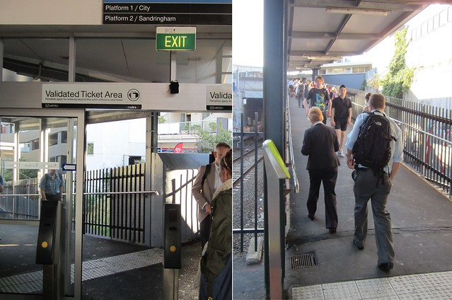 Elsternwick station - validated ticket area starts at top of the ramp, but Myki readers at the bottom