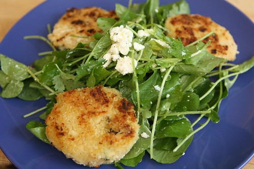 Rutabaga Manchego Cakes with Watercress Feta Salad