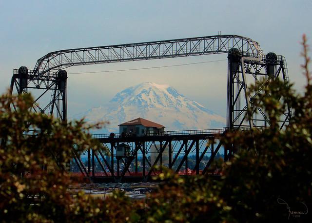Mt Rainier and the 11th street (Murray Morgan) Bridge.