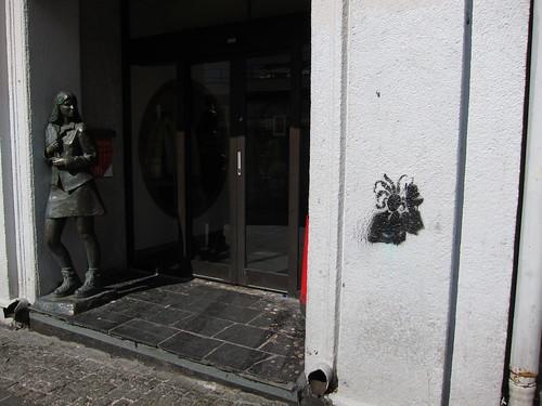 Stencil (and sculpture) at McDonald's