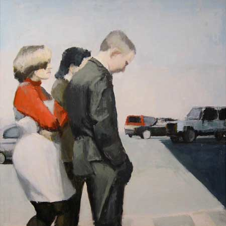 "Stephen Coyle, Pedestrians, alkyd on linen, 49"" x 49"""