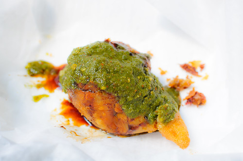 Samosa with Cilantro and Tamarind Chutney