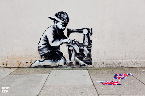 Diamond Jubilee Street Art in London by stencil artist Banksy