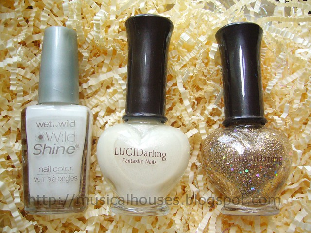 white gold glitter franken polishes