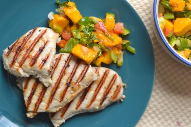 garlic lemon grilled chicken with mango salsa