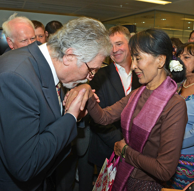 Aung San Suu Kyi meets Dave Lee Travis