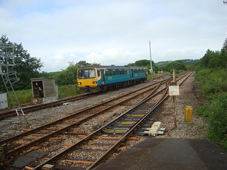 Class 143 Pacer train approaching Whitland station