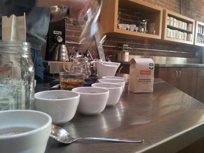 Cupping Bolivian at Stumptown